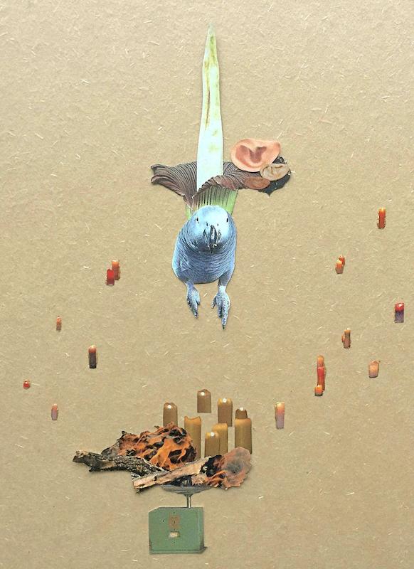 ストーリー性の高いコラージュ作品を制作する上野王香の個展、ブルームギャラリーにて