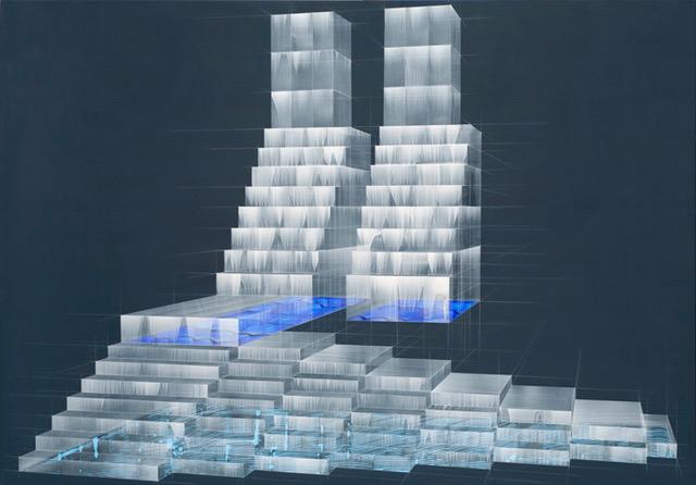 """現代版画作家・画家の木村秀樹の最新作個展「Skin Unit」がGallery Nomartにて開催。スクリーンプリントに用いる""""スキージ""""を改造した自家製道具によるアクリル作品群を展示。"""