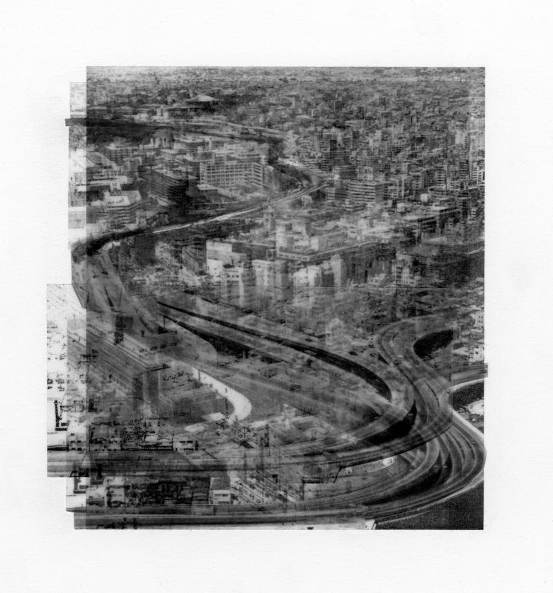 「グレースケールで思考する」をテーマに、新作のコラージュ作品を展示。ブルームギャラリーにて、大坪晶「Grayscale」。