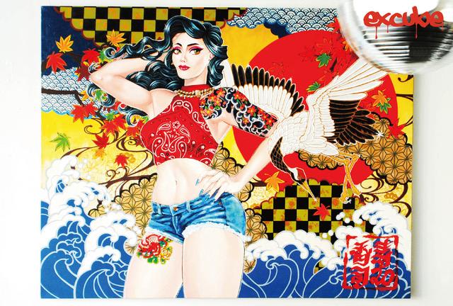 難波のショップ&ギャラリー「excube」にて、お寿司とギャルをモチーフに絵画を制作する香寿司(KASUSHI)の個展「花鳥風月」開催。